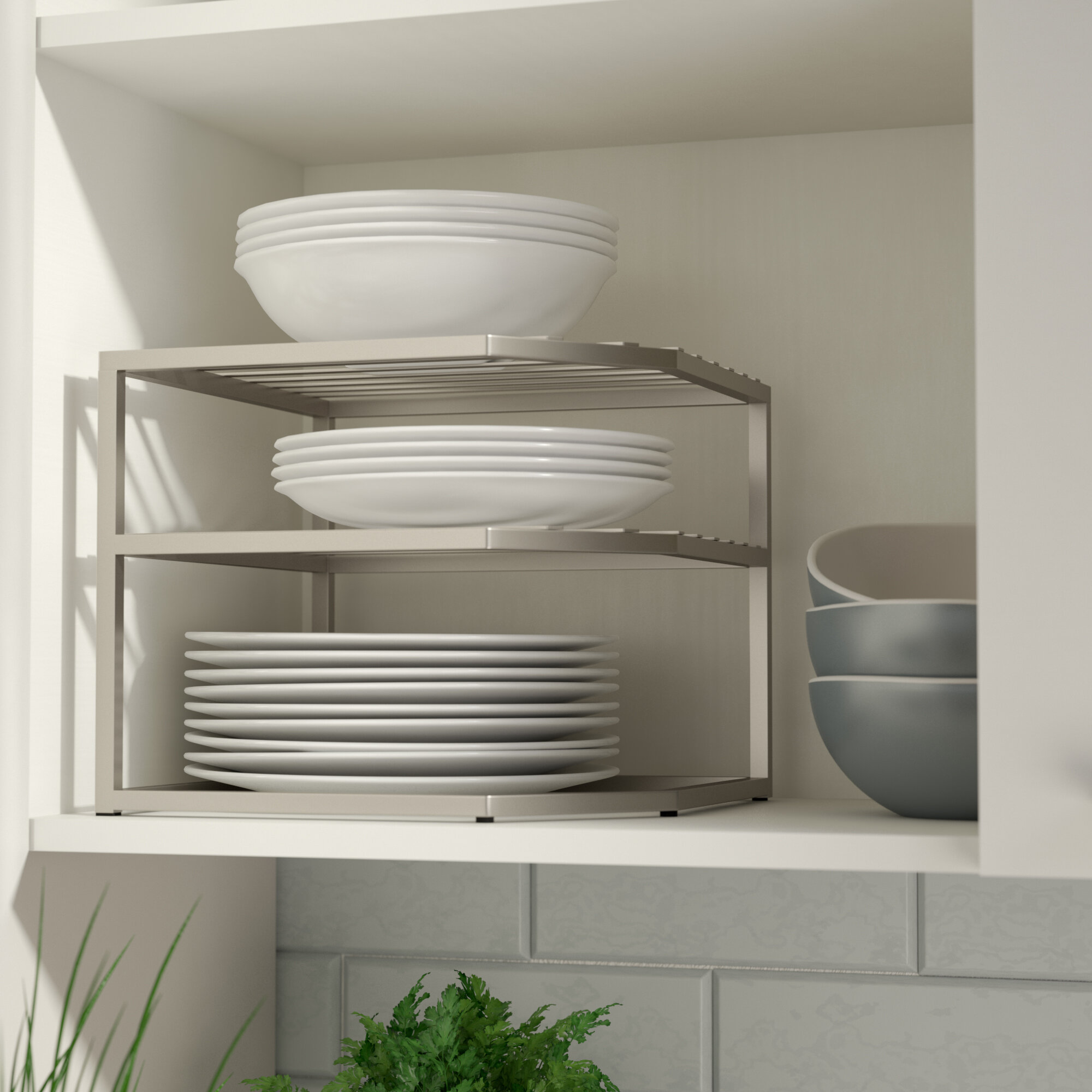 Rebrilliant Prevatte Corner Kitchen Cabinet Organizer Rack Reviews Wayfair
