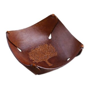 Montrose Tree of Life Leather Catchall Serving Tray
