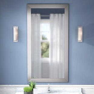 Latitude Run Hogge Modern Brushed Nickel Large Frame Wall Mirror