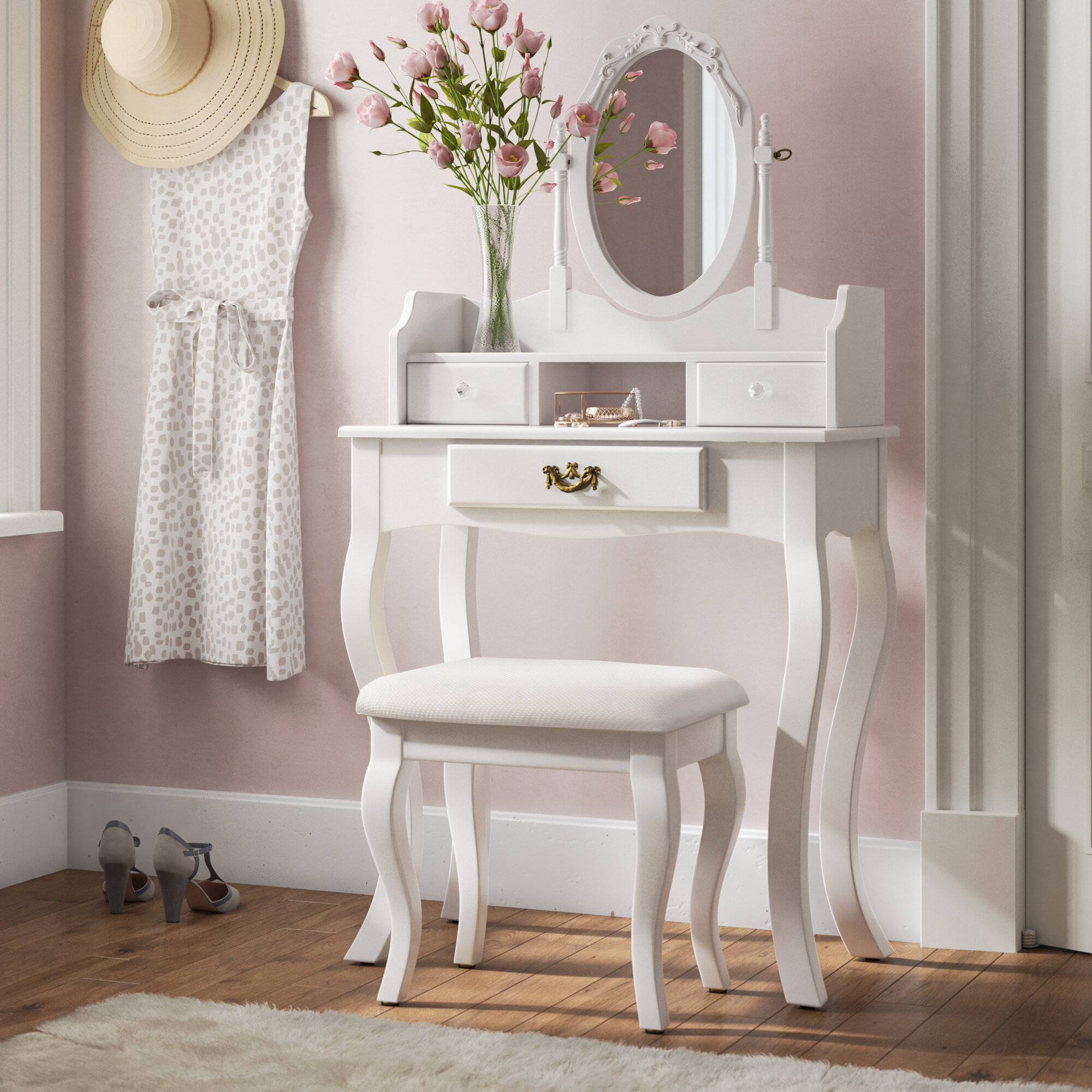 1c58ade6adf5 Fleur De Lis Living Lucy Dressing Table Set with Mirror & Reviews |  Wayfair.co.uk