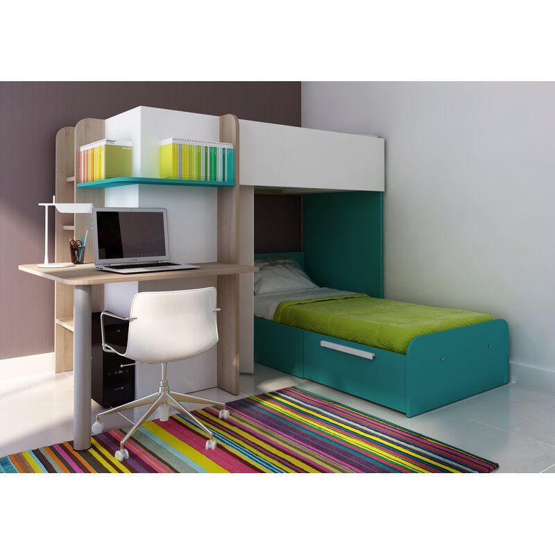 Tiger Lily Single L-Shaped Bunk Bed with Storage and Desk