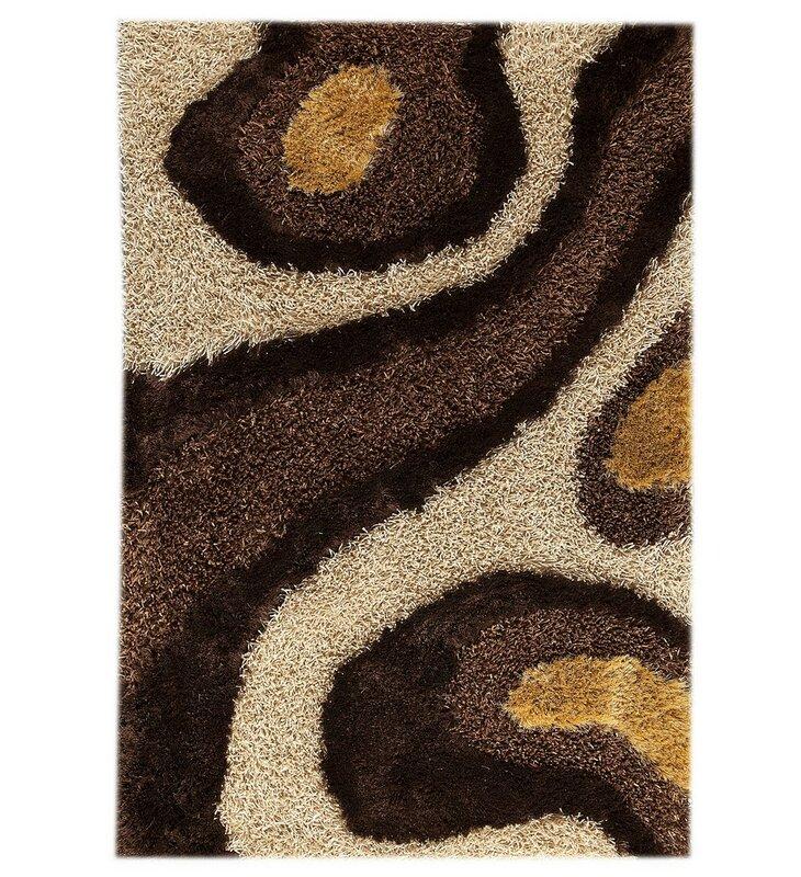 Orren Ellis Tyreece Abstract Handmade Tufted White Brown Area Rug Wayfair