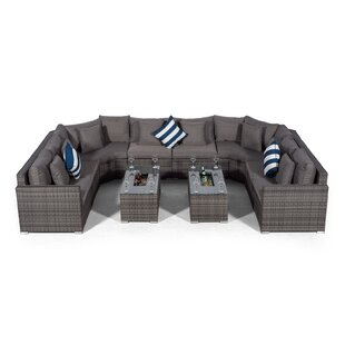 Villasenor Grey Rattan 8 Seat Sofa With 2 X Rectangle Ice Bucket Coffee Table, Outdoor Patio Garden Furniture By Sol 72 Outdoor
