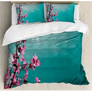 East Urban Home Fig Tree Florets with Sunny Sky Exotic Summer Spring Plants Scenic Nature View Duvet Set