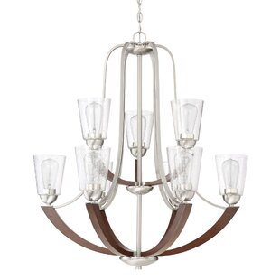 Loon Peak Chryses Brushed Nickel 9-Light Shaded Chandelier