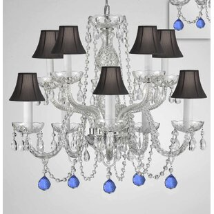 House of Hampton Mellinger Crystal 10-Light Shaded Chandelier