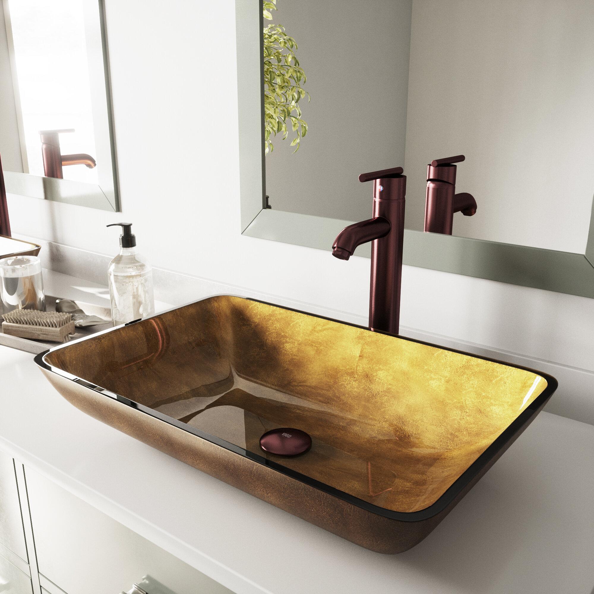 Vigo Copper Gold Glass Rectangular Vessel Bathroom Sink Reviews Wayfair