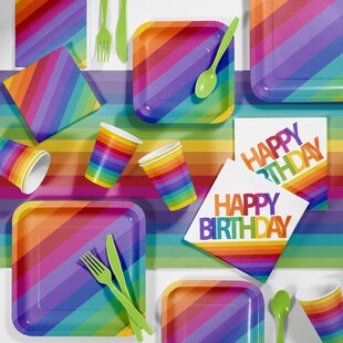 Rainbow Birthday Party Paper/Plastic Supplies Kit (Set of 81)