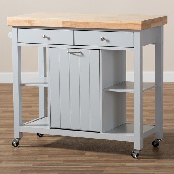Gracie Oaks Witkowski Homer Kitchen Cart With Wood Top   Wayfair