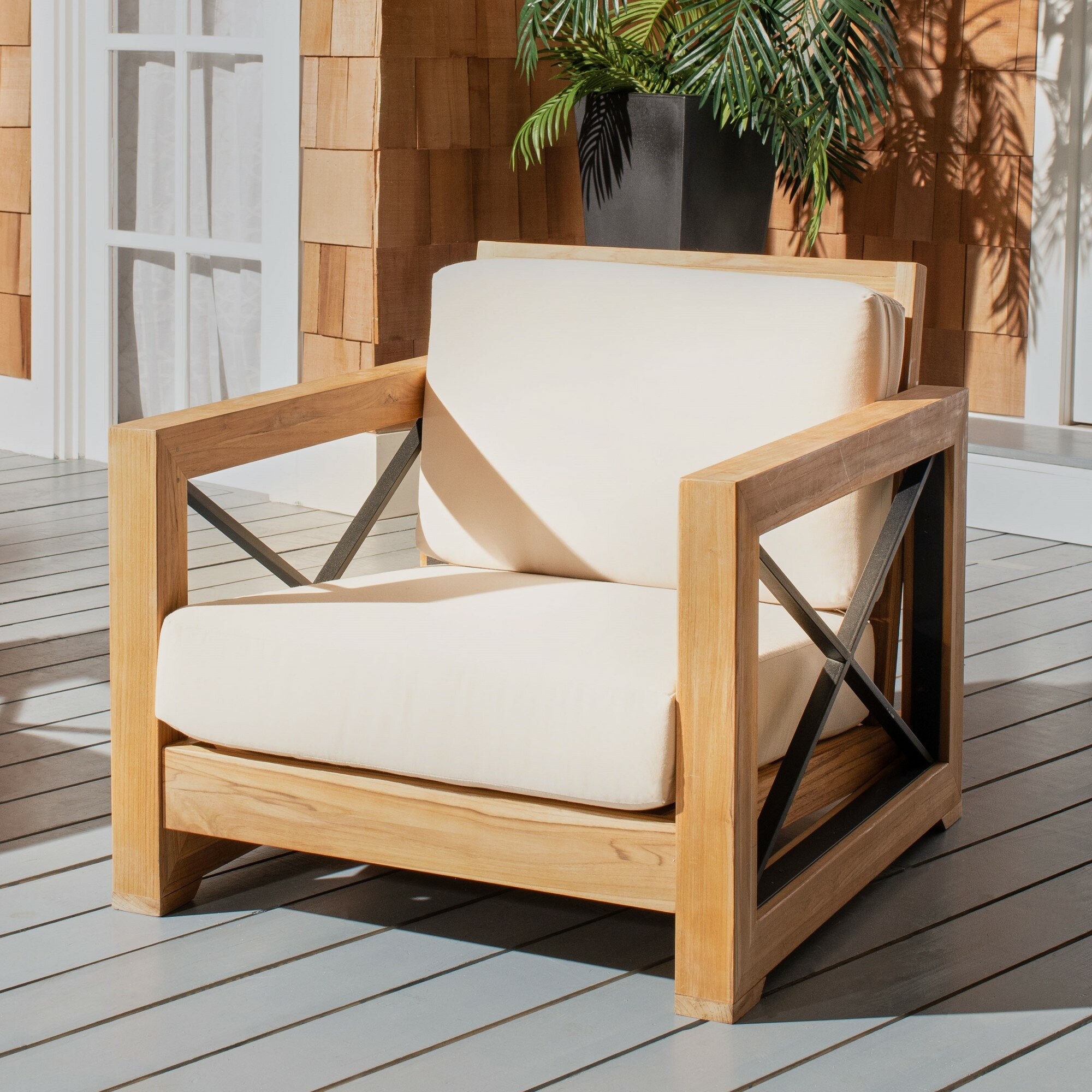 Teak Patio Chair With Cushions Reviews Joss Main