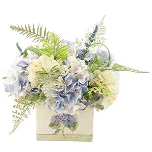 Mixed Hydrangea and Fern Floral Arrangement in Tin Pot