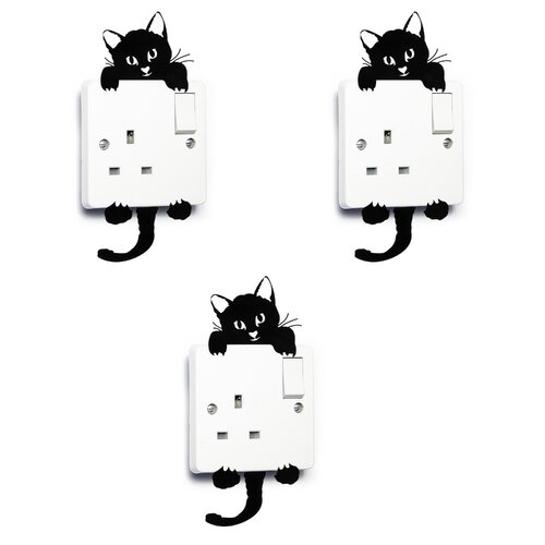 3D Wall Sticker Black Cute Cat Lover Vinyl Light Switch Decal Cat Gifts Art