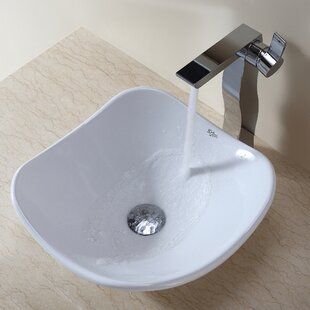 Kraus Ceramic Ceramic Circular Vessel Bathroom Sink