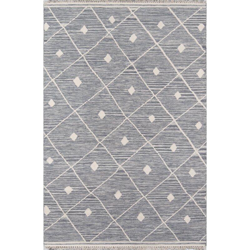 Union Rustic Grovetown Geometric Handmade Flatweave Wool Gray Area Rug Reviews Wayfair