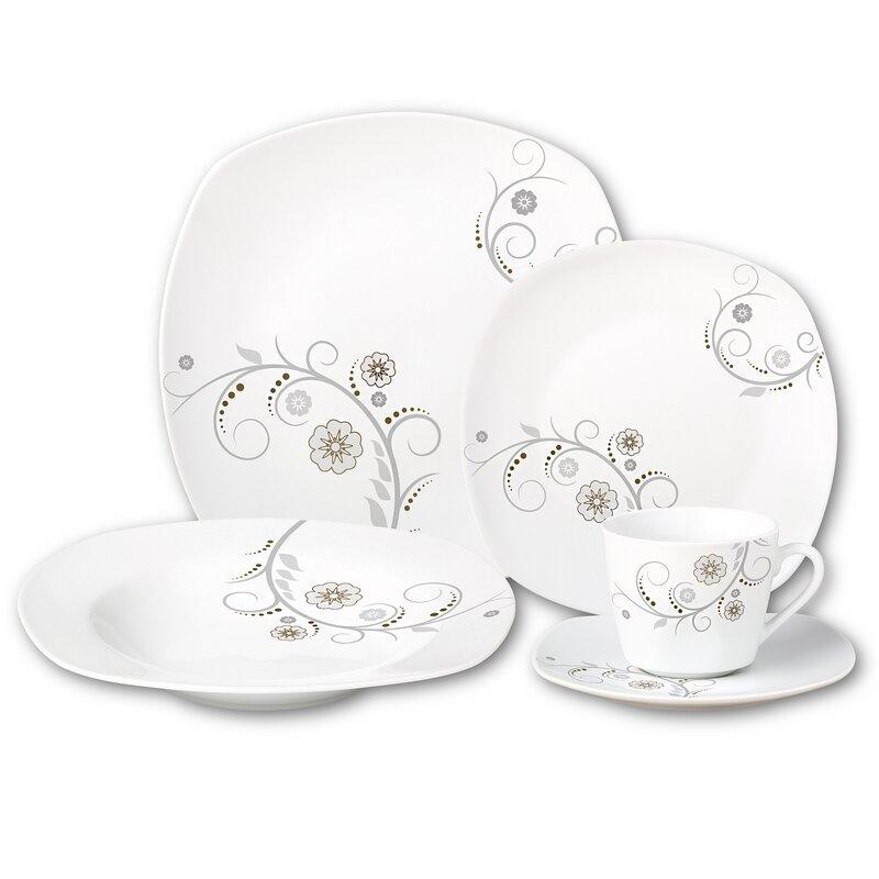 Porcelain Square 20 Piece Dinnerware Set Service for 4  sc 1 st  Wayfair & Lorren Home Trends Porcelain Square 20 Piece Dinnerware Set Service ...