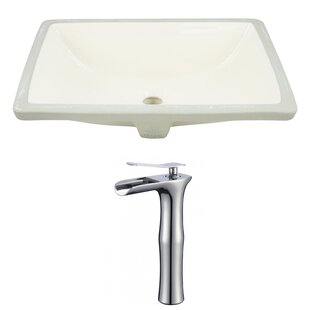 Best Price Ceramic Rectangular Undermount Bathroom Sink with Faucet and Overflow ByRoyal Purple Bath Kitchen