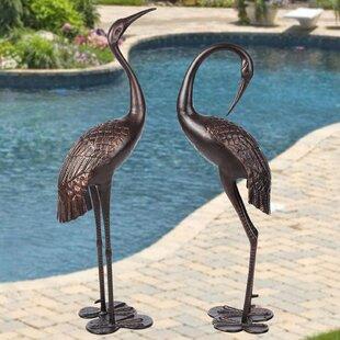 Pier Surplus Garden Crane Upright and Preening 2 Piece Statue Set