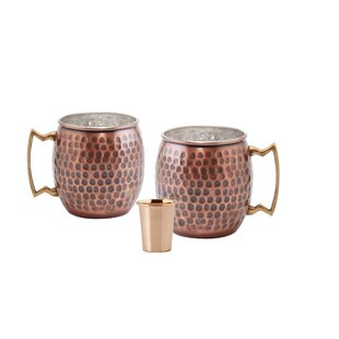 Hammered Solid 3 Piece 16 oz. Copper Moscow Mule Mug Set
