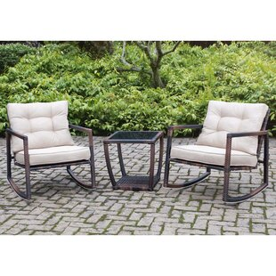 Bloomsbury Market Petrin Steel Frame 3 Piece Bistro Set with Cushions