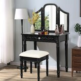 Elson Vanity Set with Stool and Mirror by Rosdorf Park