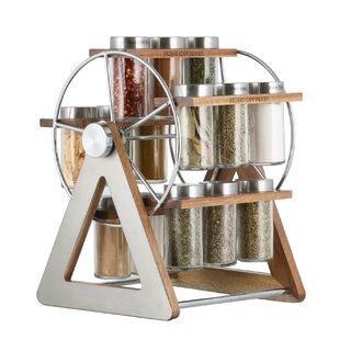 Rotate Acacia Wood Carousel 15 Spice Jar & Rack Set