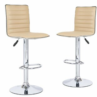 Marr Cushioned Adjustable Height Swivel Bar Stool (Set of 2) by Orren Ellis