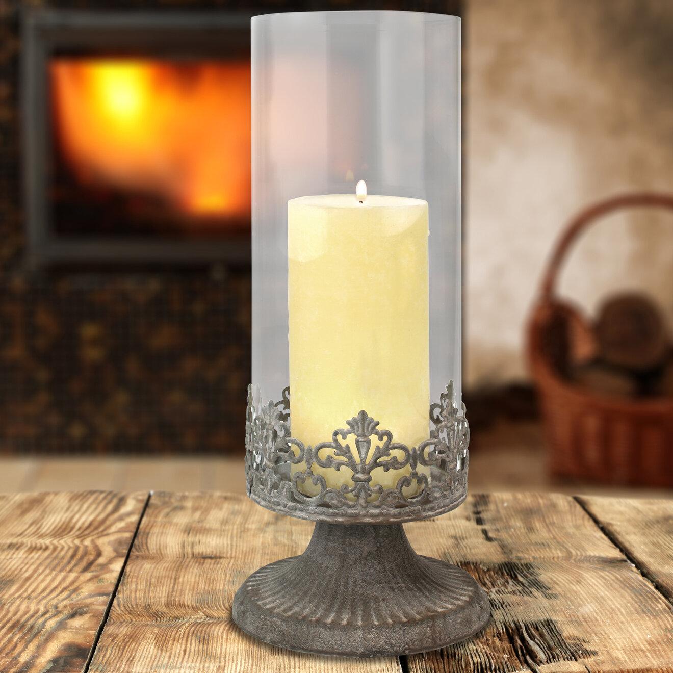 Lark Manor Cottage Zinc Filigree Glass And Metal Hurricane Reviews Wayfair