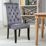 Natal Tufted Velvet Upholstered Parsons Chair in Gray (Set of 2) by Canora Grey