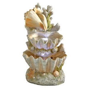 Resin Ocean's Bounty Cascading Shell Garden Fountain with LED Light