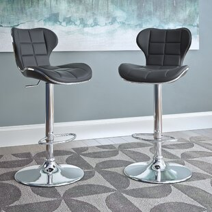 Carty Adjustable Height Swivel Bar Stool (Set of 2) Orren Ellis