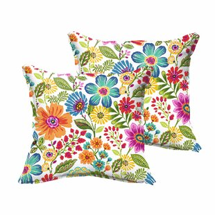 Cane Traditional Floral Indoor/Outdoor Throw Pillow (Set of 2)
