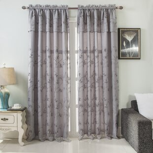 Church Street Floral Embroidered Semi-Sheer Rod Pocket Single Curtain Panel with Attached Valance by August Grove