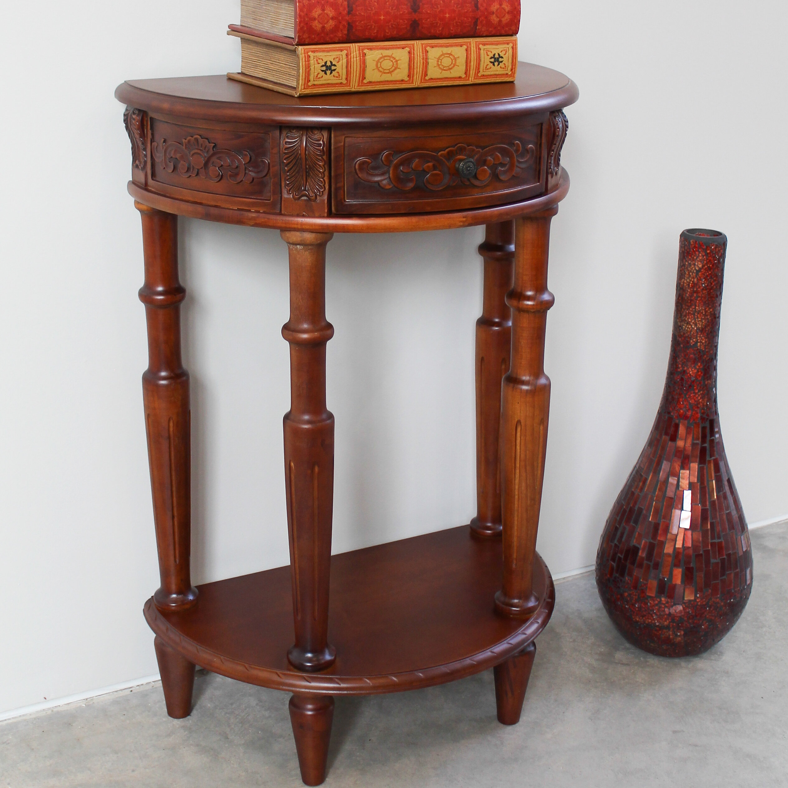 half moon console table. International Caravan Windsor Hand Carved Half Moon Console Table \u0026 Reviews | Wayfair Q