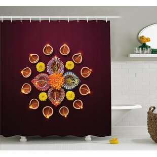 Velez Diwali Festive Celebration Indian Religious Sacred Day Flowers and Burning Candles Print Single Shower Curtain