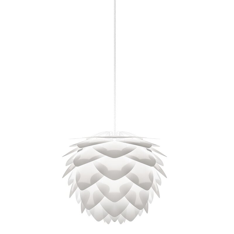 "Mercury Row  Westerberg 1-Light Novelty Pendant Cord/Cable Finish: White, Size: 10.6"" H x 13.4"" W x 13.4"" D, Finish: White"