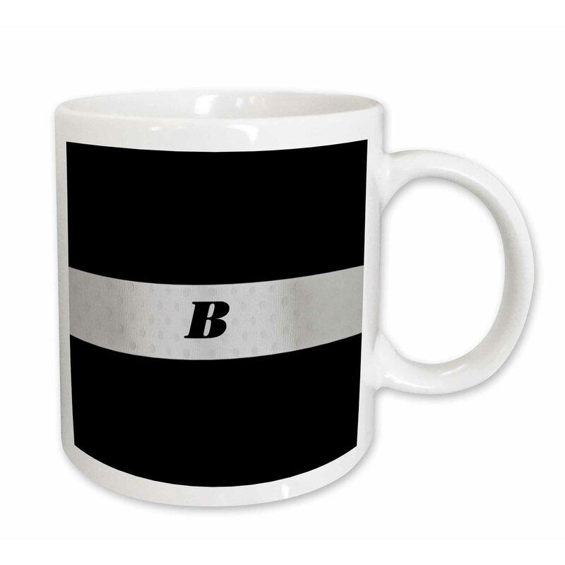 silver monogram letter coffee mug
