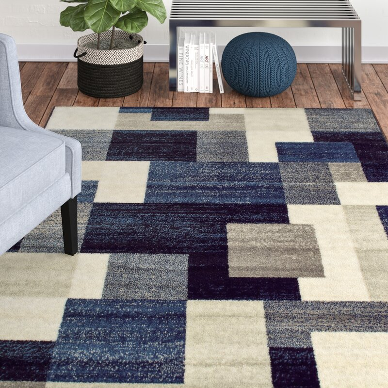 Taira Block Blue Gray Area Rug