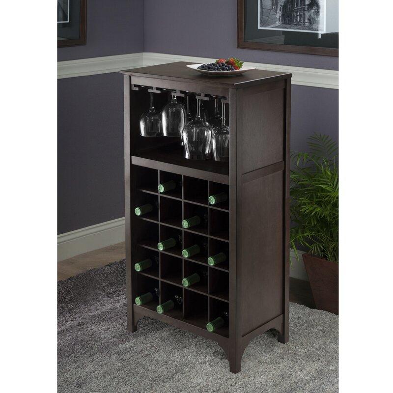Andover Mills Northpoint 20 Bottle Floor Wine Bottle & Glass Rack in Espresso
