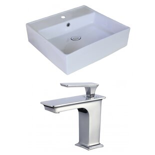 Read Reviews Ceramic Square Vessel Bathroom Sink with Faucet and Overflow ByAmerican Imaginations