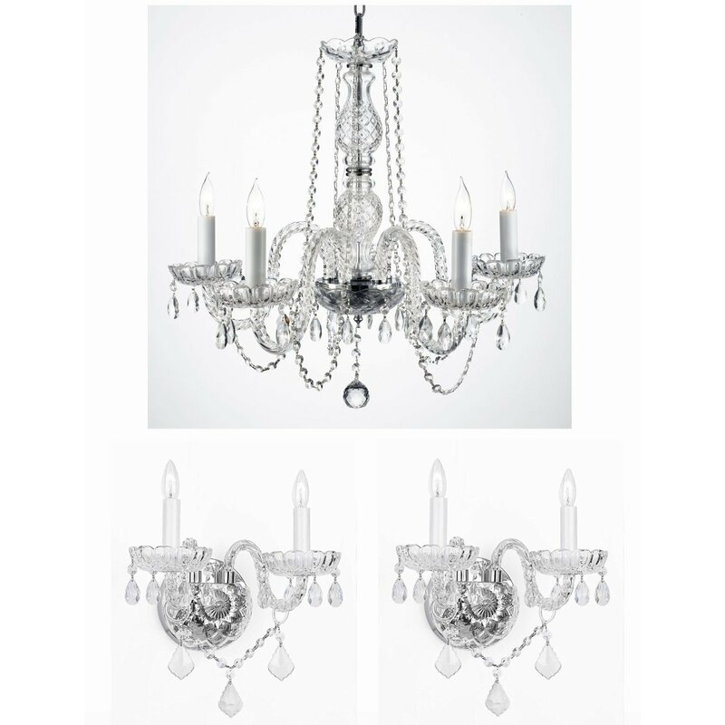 Keithley 3 Piece Crystal Chandelier and Wall Sconce Set  sc 1 st  Wayfair & House of Hampton Keithley 3 Piece Crystal Chandelier and Wall Sconce ...
