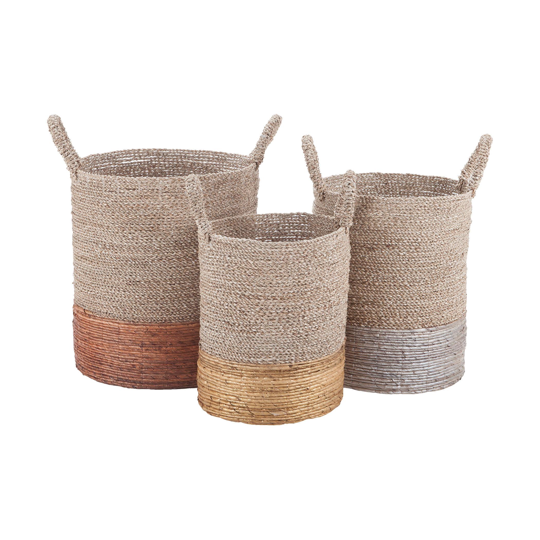 Rosecliff Heights 3 Piece Wicker Rattan Basket Set Reviews Wayfair