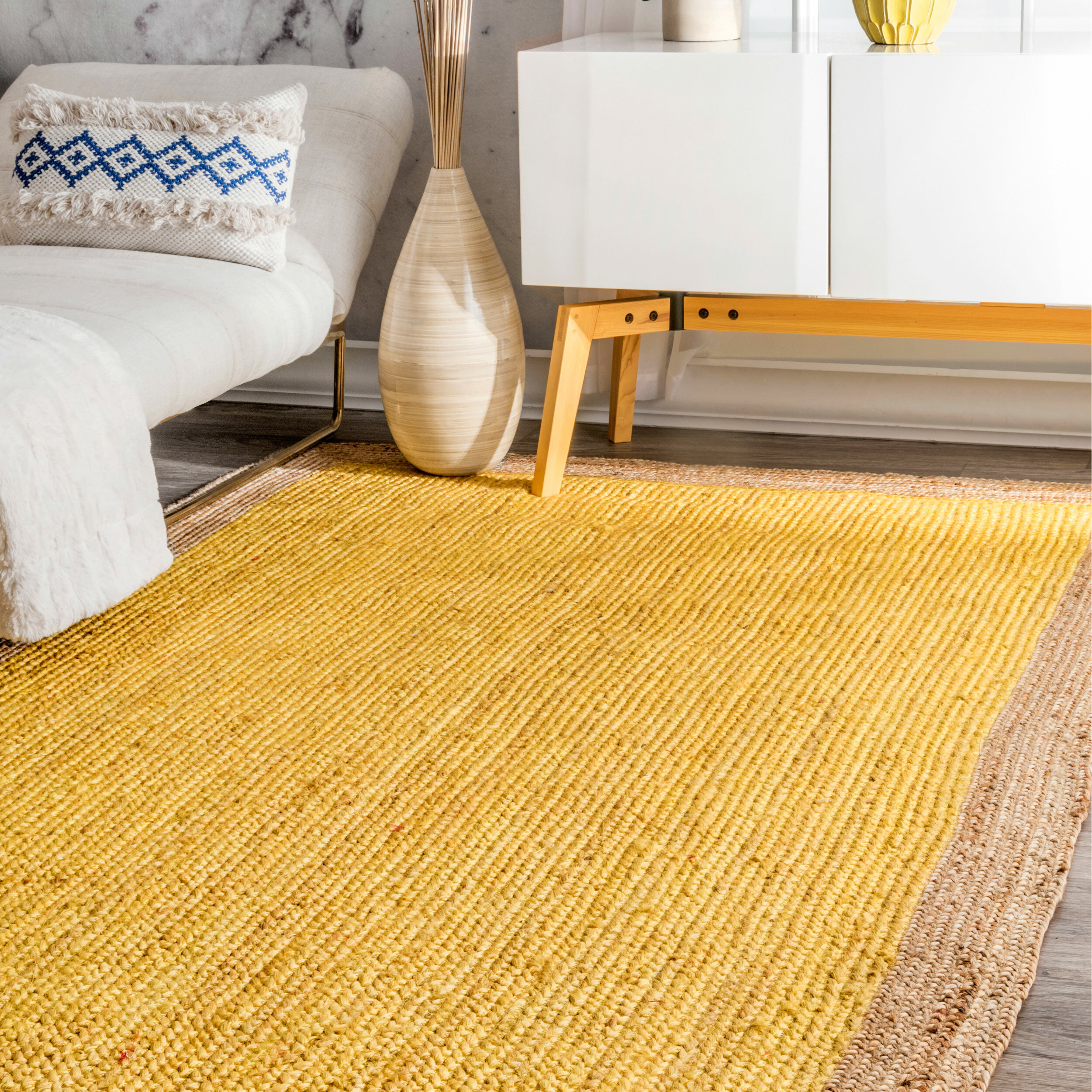 Greiner Handmade Jute Sisal Yellow Area Rug Reviews Joss Main