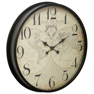 World map clock wayfair brown 314 world map clock gumiabroncs Image collections