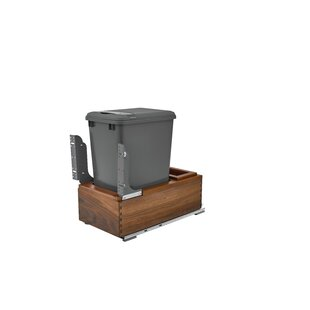 Single 50Qt Walnut Waste Container Pull Out/Under Counter Trash Can Compactor by Rev-A-Shelf