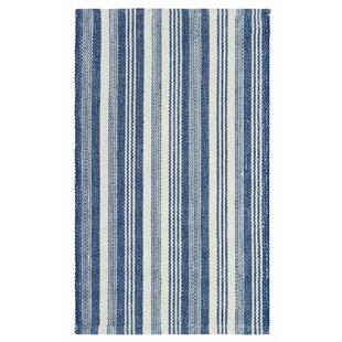 Ticking Stripe Hand-Woven Flatweave Blue/White Indoor/Outdoor Area Rug