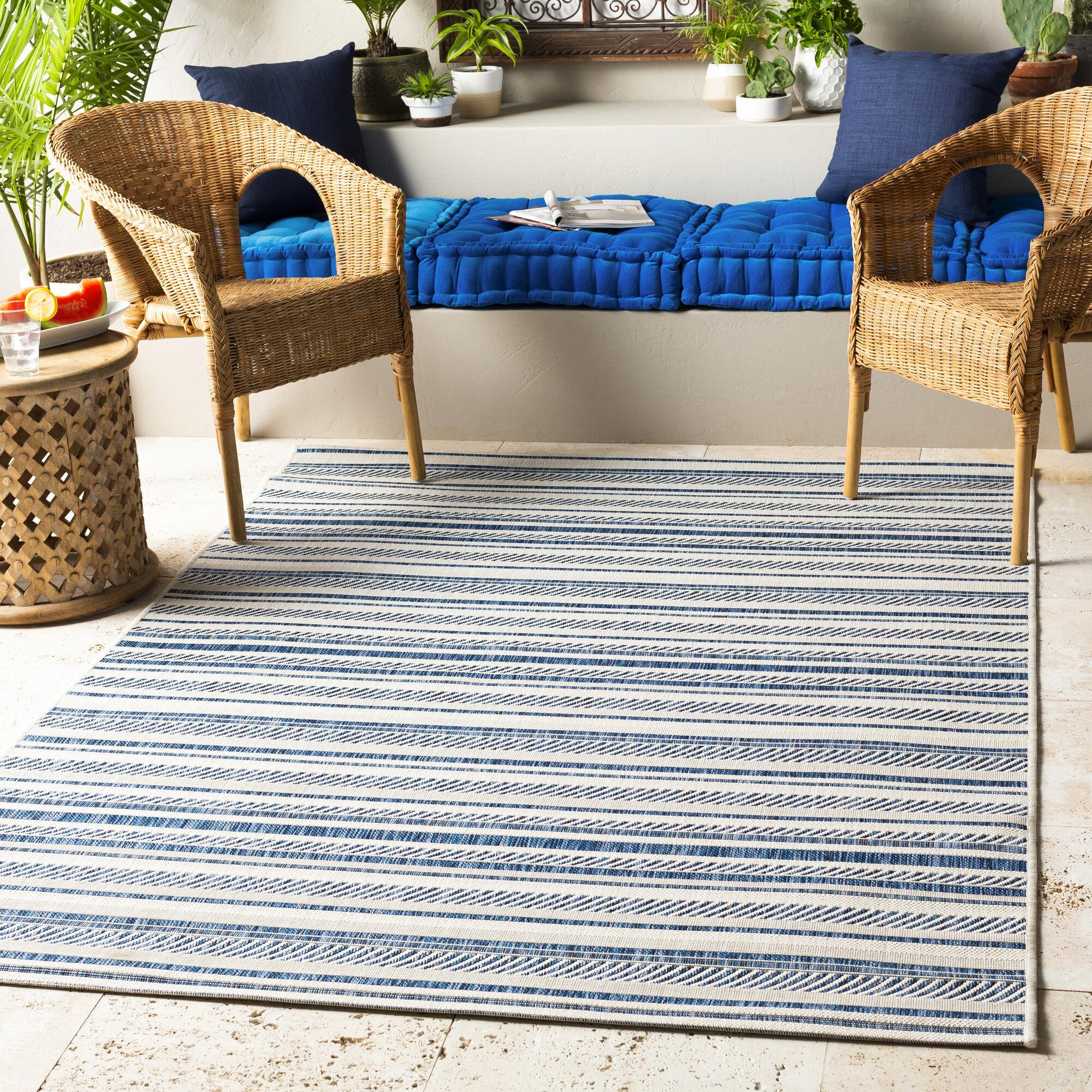 Indoor Outdoor Rugs for Garden Patio AreaTeal Blue /& Grey Flatweave Mats NEW