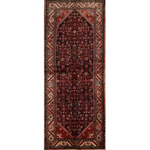 Affordable Price One-of-a-Kind Golightly Hamedan Persian Geometric Hand-Knotted Runner 3'10 x 9'8 Wool Beige/Red/Black Area Rug By Isabelline