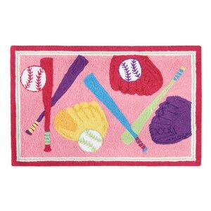 Dollison Softball Pink Area Rug