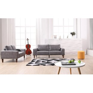 George Oliver Wheatley Modern Luxurious 2 Piece Leather Living Room Set