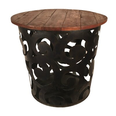 Outdoor Indoor Drum Spiral Metal Side Table
